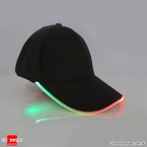 Punk Style LED Light Baseball Cap Luminous Cap Snapback Hat Fiber Optic Hat - Green