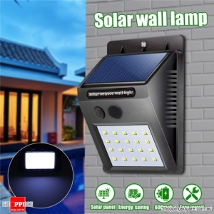 Waterproof 20 LED Solar Power Wall Light Outdoor Light-controlled Garden Security Lamp