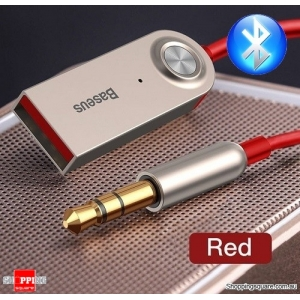 Baseus USB 3.5mm Jack Aux Bluetooth Receiver Speaker Audio Music Transmitter Red Colour