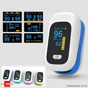 Mini OLED Finger-Clamp Pulse Oximeter Heathy Blood Oxygen Saturation Monitor - Blue