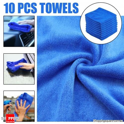 10PCS Microfiber Cleaning Cloths Washing Towel for Car Polishing Wax Detailing Drying Blue