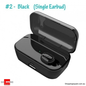 Bluetooth 5.0 TWS Earphone LED Digital Display Call Headset With Charging Box - #2 Single Earbud Black