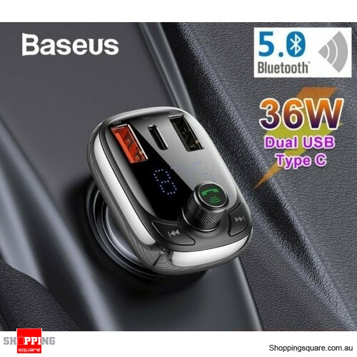 Baseus Handsfree Bluetooth 5.0 Car Kit FM Transmitter MP3 Player USB Charger(Chinese Voice)