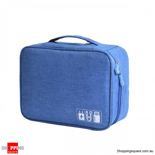 Portable Digital Storage Bag Cable Bag Charger Earphone Organizer Outdoor Travel - Blue