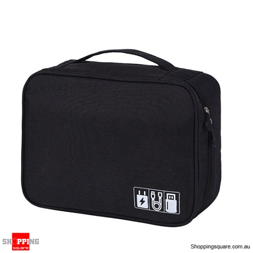 Portable Digital Storage Bag Cable Bag Charger Earphone Organizer Outdoor Travel - Black