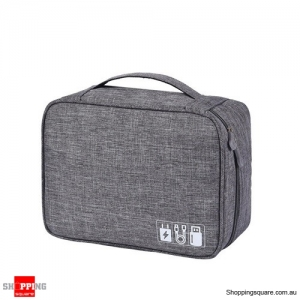 Portable Digital Storage Bag Cable Bag Charger Earphone Organizer Outdoor Travel - Grey