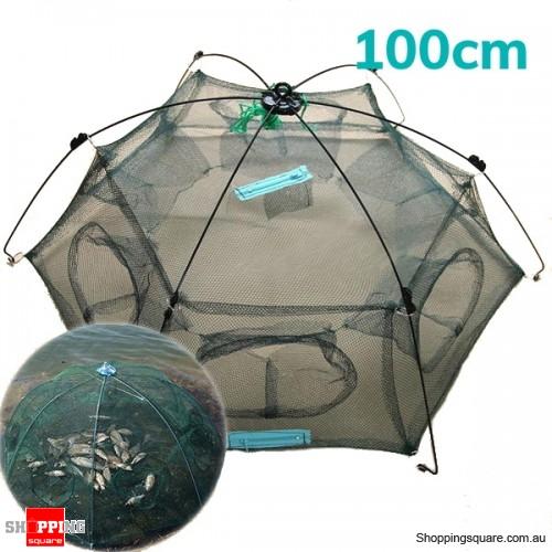 Folding Crab fish Minnow Fishing Shrimp Trap Cast Net Fishing Net - 100cm