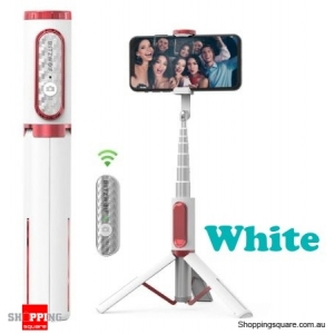 Portable Bluetooth Selfie Stick Hidden Phone Clamp with Retractable Tripod - White
