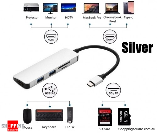 5-in-1 OTG Type-C to HDMI USB3.0 SD TF Card Reader Converter Hub Adapter - Silver