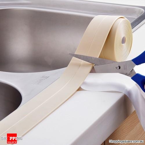 3.8mm Waterproof Self Adhesive Wall Seal Tape Kitchen Bathroom - Beige
