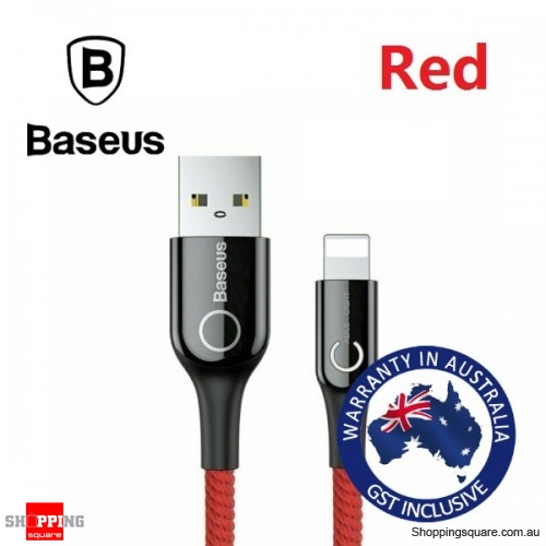 Baseus LED Lightning Charger Cable for iPhone 5 6 7 Plus X XR Xs Max 11 Smart Power Off - Red
