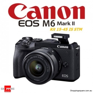 Canon EOS M6 II Kit 15-45mm IS STM DSLR Digital Camera Black