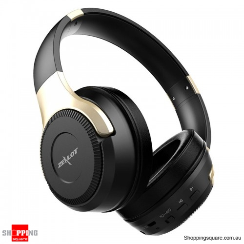 Foldable HiFi Stereo Wireless Bluetooth Headphone Touch Control Headset with Mic - Black + Gold