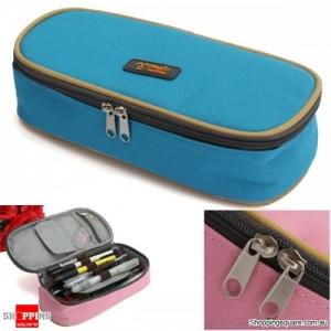 Zipper Pencil Case Pen Cosmetic Travel Makeup Bag - Blue