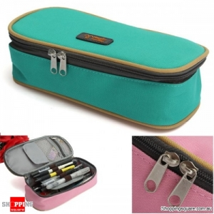 Zipper Pencil Case Pen Cosmetic Travel Makeup Bag - Green