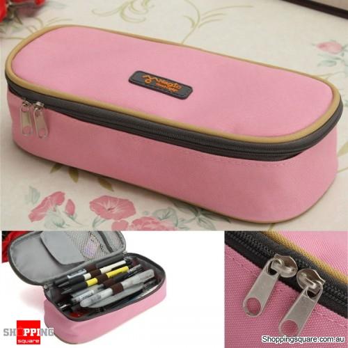 Zipper Pencil Case Pen Cosmetic Travel Makeup Bag - Pink