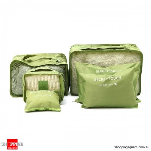 6Pcs Portable Storage Bag Set Luggage Organizer Travel Pouch - Green