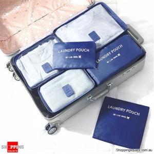 6Pcs Portable Storage Bag Set Luggage Organizer Travel Pouch - Navy