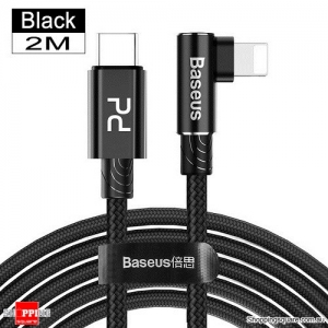 Baseus 2M 18W PD 3.0 Type C Quick Charging Cable for Lightning iPhone 11 Pro XS Max XR - Black