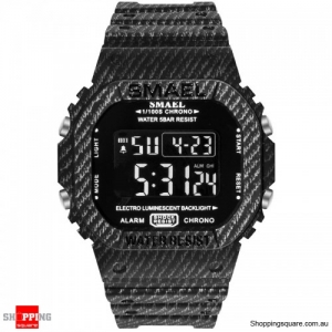 SMAEL 1801 Camouflage Cowboy Style Luminous 5ATM Digital Watch - 2. Black