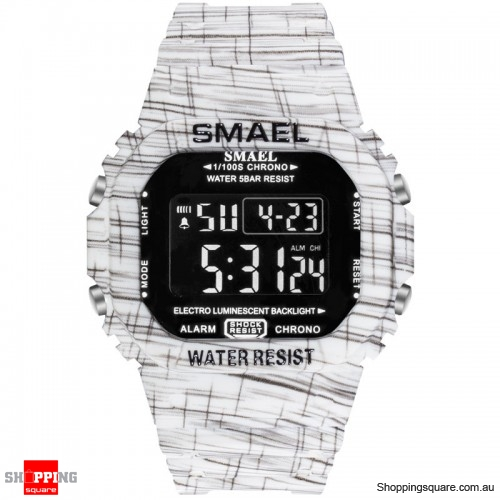 SMAEL 1801 Camouflage Cowboy Style Luminous 5ATM Digital Watch - 3. White