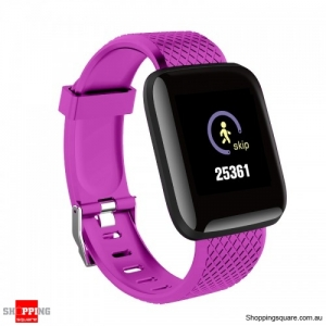 Color Screen Touch Wristband Visible Message Show Smart Watch - Purple