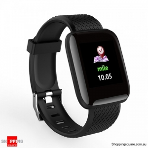 Color Screen Touch Wristband Visible Message Show Smart Watch - Black