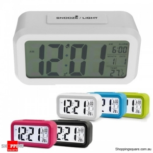 Large LED Digital Alarm Clock Backlight - White