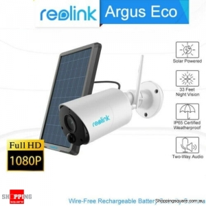 Reolink Argus Eco IP Camera WiFi Outdoor Battery Wireless Security Cam FHD 1080p with Solar Panel