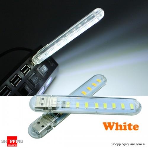 Mini USB 3W SMD5730 Light Lamp Camping 8 LED Night Light DC5V - White