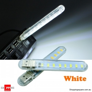 Mini USB 3W SMD5730 Light Lamp Camping 8 LED Night Light DC5V - White