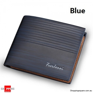 Men's Brown Leather RFID Blocking Anti Theft Wallet Blue Colour