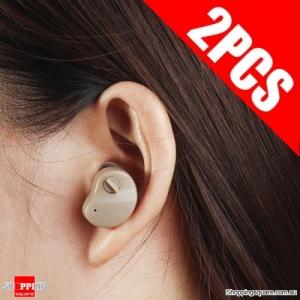 2pcs Portable Digital Hearing Aid Enhancer Mini In-Ear Sound Voice Amplifier