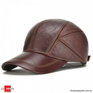 Genuine Leather Baseball Cap Earflap Windproof Outdoor Trucker Hats - Red Brown