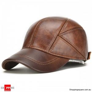 Genuine Leather Baseball Cap Earflap Windproof Outdoor Trucker Hats - Yellow Brown