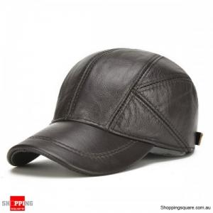 Genuine Leather Baseball Cap Earflap Windproof Outdoor Trucker Hats - Dark Brown