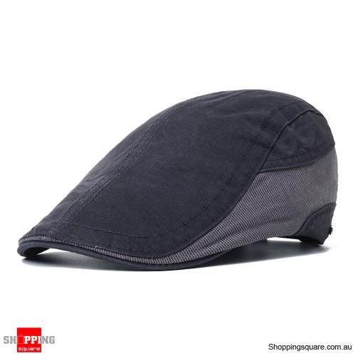 Outdoor Summer Beret Hat Solid Newsboy Cabbie Flat Caps - Gray