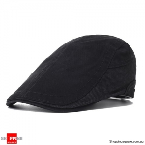 Outdoor Summer Beret Hat Solid Newsboy Cabbie Flat Caps - Black