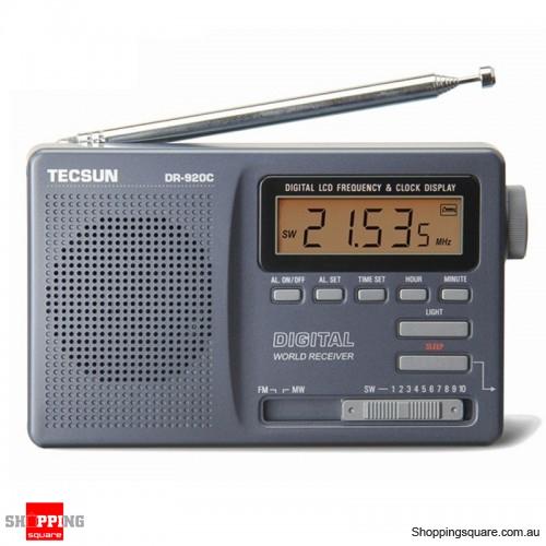 Digital Clock Alarm Radio Receiver FM MW SW 12 Band - Silver Gray
