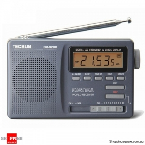 Digital Clock Alarm Radio Receiver FM MW SW 12 Band - Silver Gray