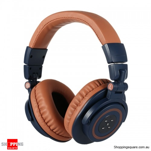 Foldable Noise Cancelling Heavy Bass Microphone Bluetooth Headphone - Brown