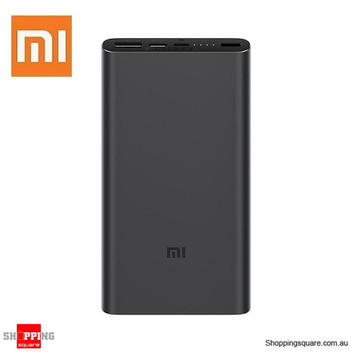Original Xiaomi 10000mAh Power Bank 3 Dual Input Output 18W Two-way QC3.0 Quick Charge for Mobile Phone Black Colour - AU Stock