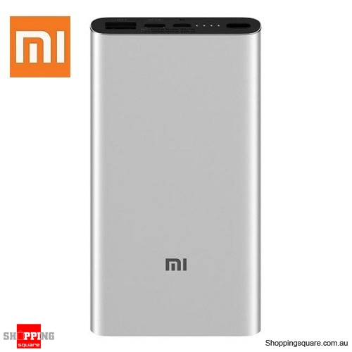 Original Xiaomi 10000mAh Power Bank 3 Dual Input Output 18W Two-way QC3.0 Quick Charge for Mobile Phone Silver Colour - AU Stock