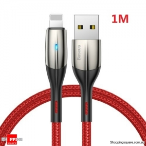 Baseus 1M Lightning Cable Fast Charging Charger Cord for iPhone XS XR 8 7 6 iPad Red Colour