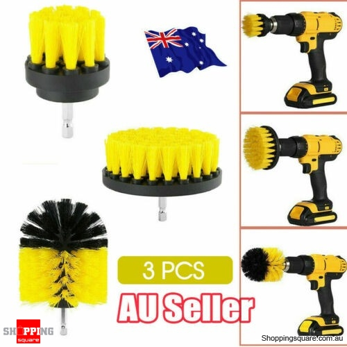 Drill Brush Tub Cleaner Grout Power Scrubber Cleaning Combo Tool Kit Yellow