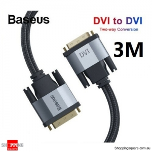 Baseus 3M DVI Cable DVI-D 24+1 Dual Link Male to Male Digital Video Cable for HDTV
