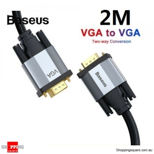Baseus 2M Premium VGA Cable 1080P VGA Male to Male Extension for PC Laptop Monitor