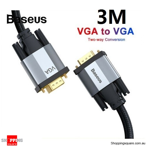 Baseus 3M Premium VGA Cable 1080P VGA Male to Male Extension for PC Laptop Monitor