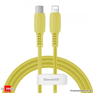 Baseus PD USB C to Lightning Fast Charging Cable 18W USB Charger Cable for iPhone 11 XR X Max Data Cord Yellow Colour