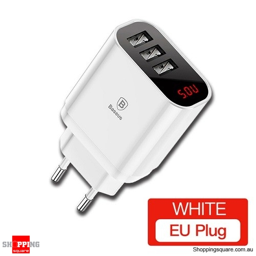 Baseus Digital Display Charging USB Charger for Samsung Xiaomi Phone Charger 3.4A Max Fast Charger White Colour